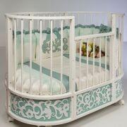 Кроватка-трансформер Островок уюта овальная EVA декор Арабески маятник поперечный