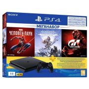 Игровая приставка Sony PlayStation 4 Slim 1 ТБ черный + Gran Turismo Sport + Horizon Zero Dawn + Marvel Человек Паук + PS Plus 3 месяца