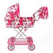 Коляска-люлька Melobo / Melogo C сумкой и корзиной (9325) розовый 'бабочки'